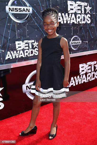 Actress Marsai Martin arrived at the BET Make A Wish Foundation Recipients BET Experience At LA Live Red Carpet arrivals Weekend Events on June 28...
