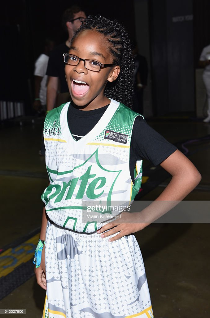 Actress <a gi-track='captionPersonalityLinkClicked' href=/galleries/search?phrase=Marsai+Martin&family=editorial&specificpeople=12819653 ng-click='$event.stopPropagation()'>Marsai Martin</a> poses in the green room at the celebrity basketball game during the 2016 BET Experience at the JW Marriott Los Angeles L.A. Live on June 25, 2016 in Los Angeles, California.