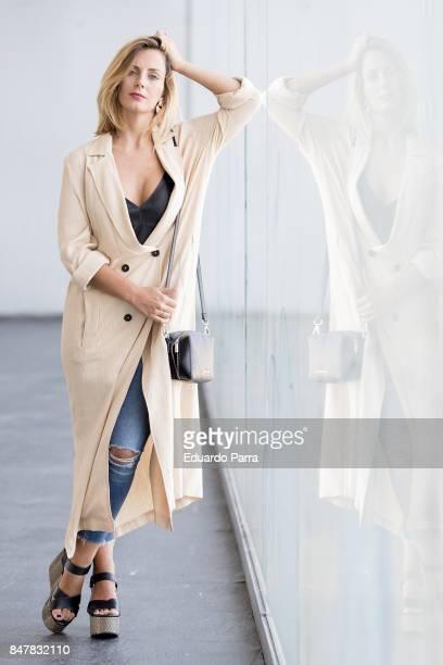 Actress Marta Abril wears a Zara jacket Uterqüe top Adolfo Dominguez handbag and Mango shoes during the Mercedes Benz Fashion Week Spring/Summer 2018...