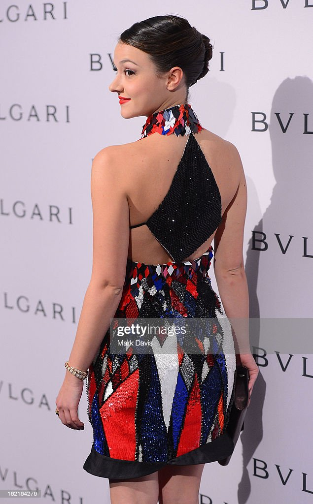 Actress Marta Gastini arrives at the BVLGARI celebration of Elizabeth Taylor's collection of BVLGARI jewelry at BVLGARI Beverly Hills on February 19, 2013 in Los Angeles, California.