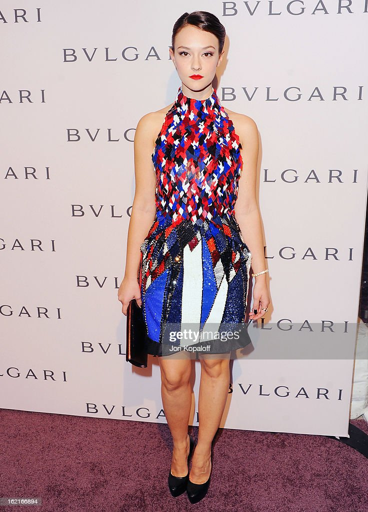 Actress Marta Gastini arrives at the Elizabeth Taylor Bulgari Event At The New Bulgari Beverly Hills Boutique on February 19, 2013 in Beverly Hills, California.