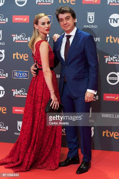 Actress Marta Hazas and Javier Veiga attend the Platino Awards 2017 photocall at the La Caja Magica on July 22 2017 in Madrid Spain