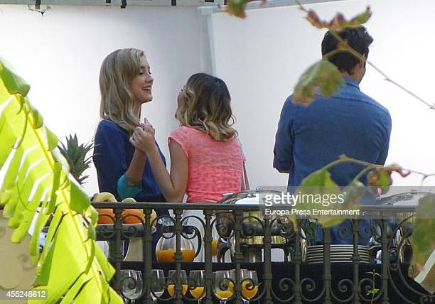 Actress Martina Stoessel and Jorge Blanco attend 'Violetta' set filming on September 10 2014 in Seville Spain