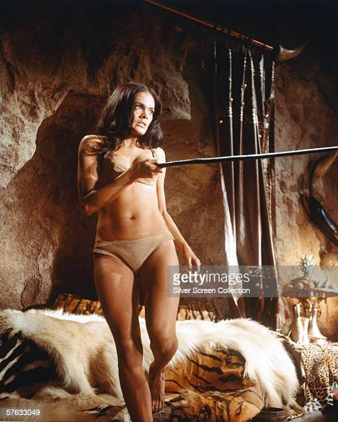 Actress Martine Beswick as love rival Nupondi in the caveman classic 'One Million Years BC' directed by Don Chaffey 1966