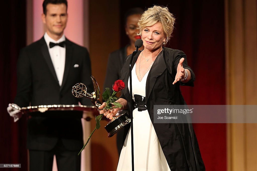 Actress Mary Beth Evans accepts a rose and her Emmy for Outstanding Lead Actress in a Drama at the 2016 Daytime Emmy Awards at Westin Bonaventure Hotel on May 1, 2016 in Los Angeles, California.