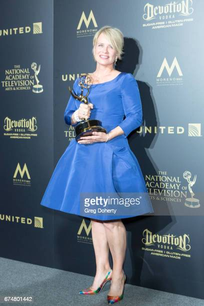 Actress Mary Beth Evans displays her Emmy Award at the 44th Annual Daytime Creative Arts Emmy Awards at Pasadena Civic Auditorium on April 28 2017 in...