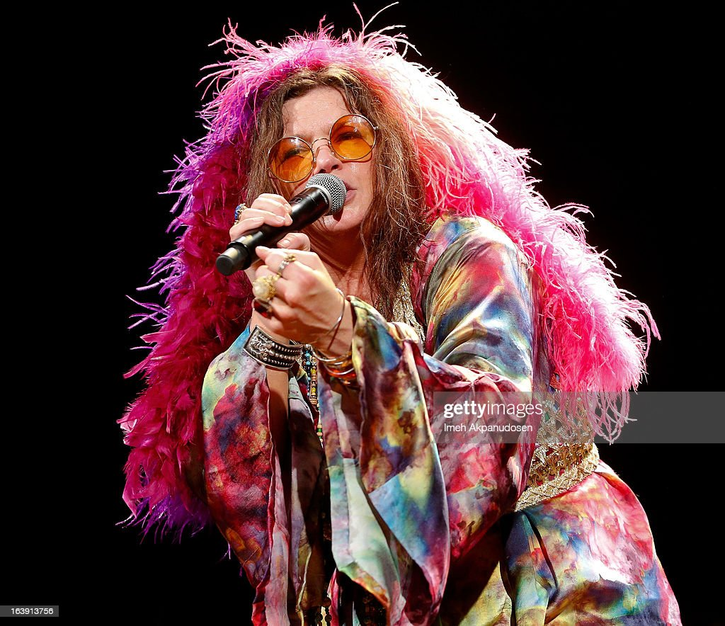 Actress <a gi-track='captionPersonalityLinkClicked' href=/galleries/search?phrase=Mary+Bridget+Davies&family=editorial&specificpeople=9843062 ng-click='$event.stopPropagation()'>Mary Bridget Davies</a>, as Janis Joplin, performs onstage during the opening night of 'One Night With Janis Joplin' at Pasadena Playhouse on March 17, 2013 in Pasadena, California.