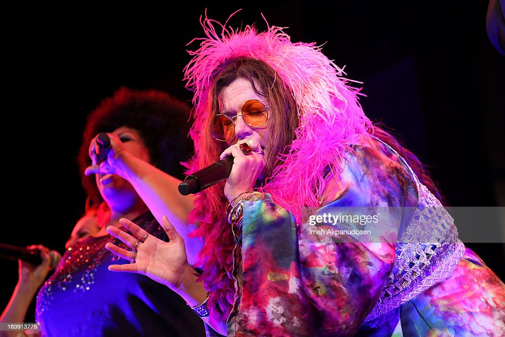 Actress Mary Bridget Davies, as Janis Joplin, performs onstage during the opening night of 'One Night With Janis Joplin' at Pasadena Playhouse on March 17, 2013 in Pasadena, California.
