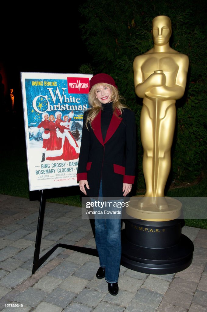 Actress <a gi-track='captionPersonalityLinkClicked' href=/galleries/search?phrase=Mary+Crosby&family=editorial&specificpeople=799465 ng-click='$event.stopPropagation()'>Mary Crosby</a> arrives at the Academy of Motion Picture Arts and Sciences' Oscars outdoors screening of 'White Christmas' on December 6, 2012 in Hollywood, California.