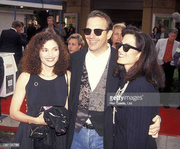 Actress Mary Elizabeth Mastrantonio Kevin Costner and wife Cindy Costner attending the premiere of 'Robin HoodPrince of Thieves' at Mann Village...