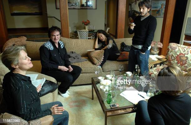 Actress Mary Harren director Quentin Tarantino actress Sandra Oh actor Diego Luna and actress Marcia Gay Harden attend the Jury Dinner at Deer Valley...