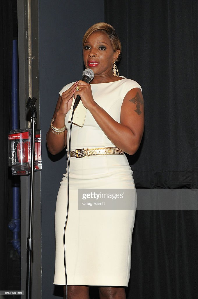 Actress Mary J. Blige speaks at the premiere of 'Betty & Coretta' to celebrate with Lifetime and cast at Tribeca Cinemas on January 28, 2013 in New York City.