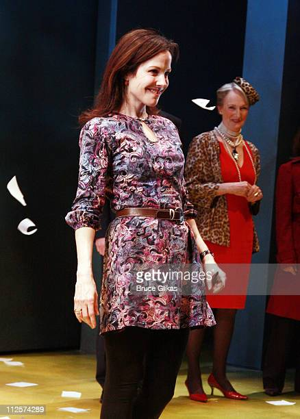 Actress Mary Louise Parker takes her bow at The Opening Night Curtain Call for Sarah Ruel's 'Dead Man's Cell Phone' at Playwrights Horizons on March...
