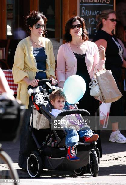 Actress Mary Louise Parker with her son William Atticus Parker her newly adopted daughter and her mothers ighting walking in SOHO September 29 2007...