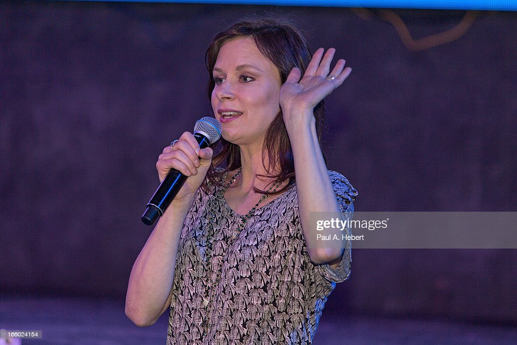 Actress Mary Lynn Rajskub on stage during the Comedy for a Cure benefit held at Lure on April 7, 2013 in Hollywood, California.