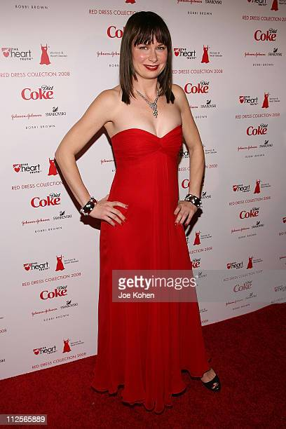 Actress Mary Lynn Rajskub wearing a dress by Monique Lhuiller arrives at The Heart Truth Red Dress show during MercedesBenz Fashion Week Fall 2008 on...