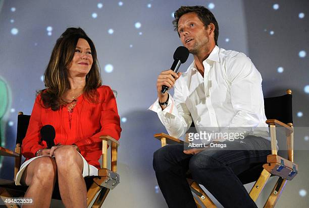 Actress Mary McDonnell and actor Jamie Bamber participate in the 5th Annual Hero Complex Film Festival 'Battlestar Galactica' Screening and QA held...