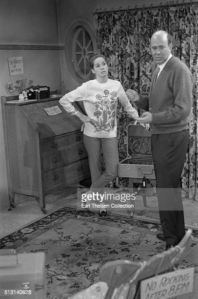 Actress Mary Tyler Moore and writer producer director and actor Carl Reiner in rehearsal for The Dick Van Dyke Show on December 2 1963 in Los Angeles...