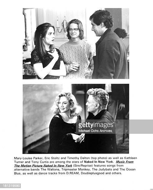 Actress MaryLouise Parker actors Eric Stoltz and Timothy Dalton Actress Kathleen Turner and actor Tony Curtis on set of the movie 'Naked in New York'...
