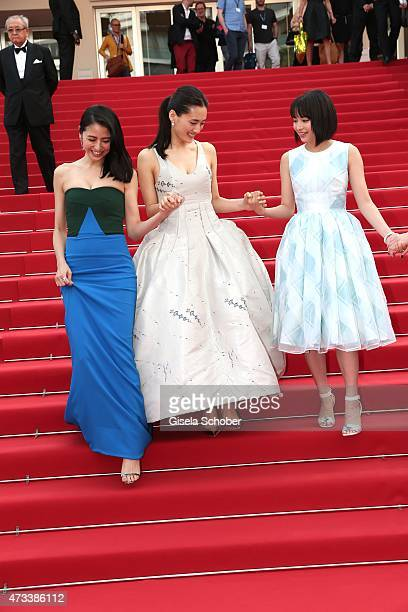 Actress Masami Nagasawa Haruka Ayase Suzu Hirose depart the Premiere of 'Umimachi Diary' during the 68th annual Cannes Film Festival on May 14 2015...