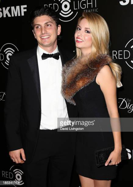 Actress Masiela Lusha and financier Ramzi Habibi attend the launch of the Redlight Traffic app at the Dignity Gala at The Beverly Hilton Hotel on...