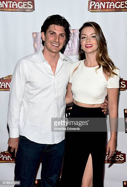 Actress Masiela Lusha and Ramzi Habibi arrive at the opening of 'Cabaret' at the Hollywood Pantages Theatre on July 20 2016 in Hollywood California