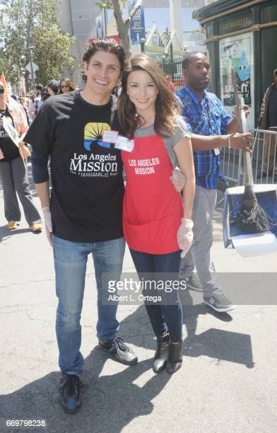 Actress Masiela Lusha and Ramzi Habibi at the Los Angeles Mission's Easter Celebration held at Los Angeles Mission on April 14 2017 in Los Angeles...