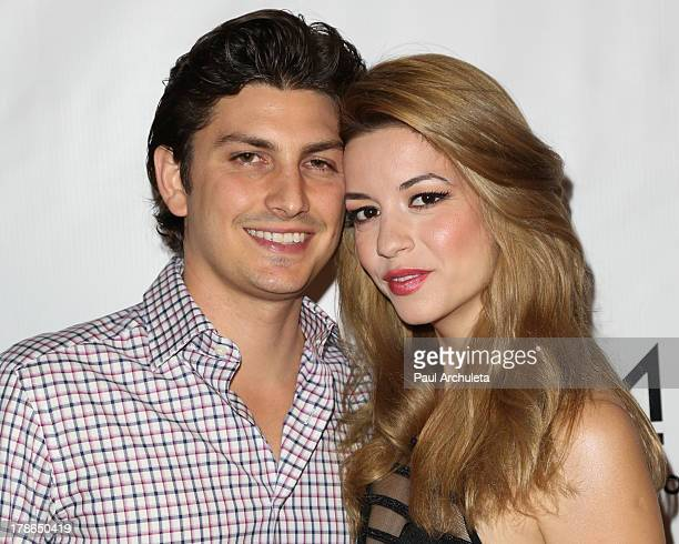 Actress Masiela Lusha and Ramzi Habibi attend the Genlux Magazine release party at Sofitel Hotel on August 29 2013 in Los Angeles California