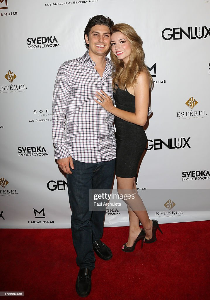 Actress Masiela Lusha (R) and Ramzi Habibi (L) attend the Genlux Magazine release party at Sofitel Hotel on August 29, 2013 in Los Angeles, California.