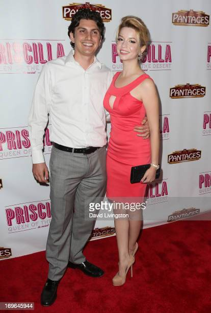 Actress Masiela Lusha and Ramzi Habibi attend the Los Angeles theatre premiere of 'Priscilla Queen of the Desert' at the Pantages Theatre on May 29...