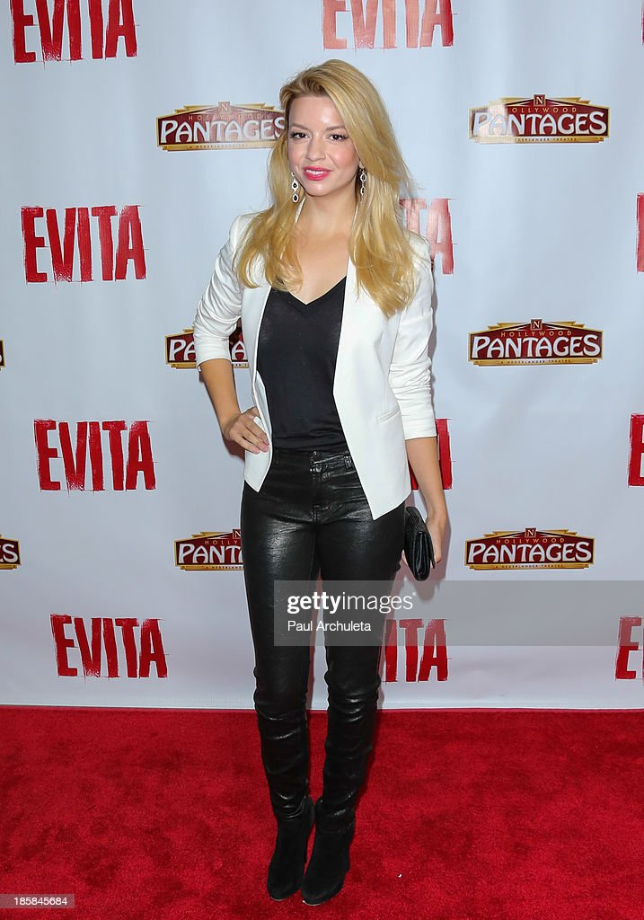 Actress <a gi-track='captionPersonalityLinkClicked' href=/galleries/search?phrase=Masiela+Lusha&family=editorial&specificpeople=213392 ng-click='$event.stopPropagation()'>Masiela Lusha</a> attends the opening night of 'Evita' at the Pantages Theatre on October 24, 2013 in Hollywood, California.