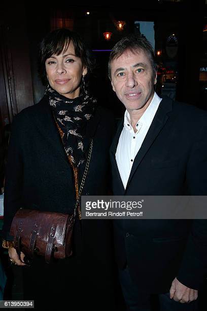 Actress Mathilda May and Director of the Theater LouisMichel Colla attend the 'Ivo Livi ou le destin d'Yves Montand' Theater Play at Theatre de la...