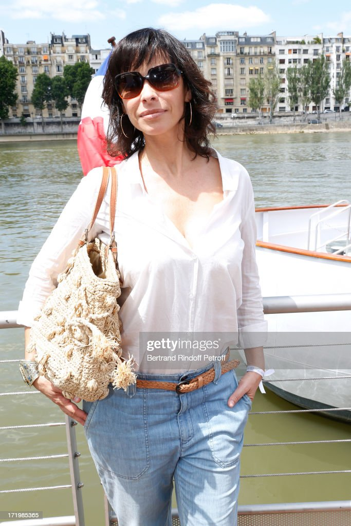 Actress <a gi-track='captionPersonalityLinkClicked' href=/galleries/search?phrase=Mathilda+May&family=editorial&specificpeople=688986 ng-click='$event.stopPropagation()'>Mathilda May</a> attends 'Brunch Blanc' hosted by Groupe Barriere for Sodexho with a cruise in Paris on June 30, 2013, France.