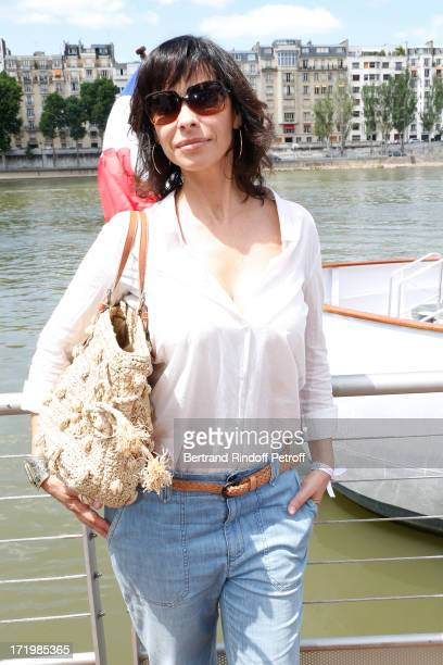 Actress Mathilda May attends 'Brunch Blanc' hosted by Groupe Barriere for Sodexho with a cruise in Paris on June 30 France