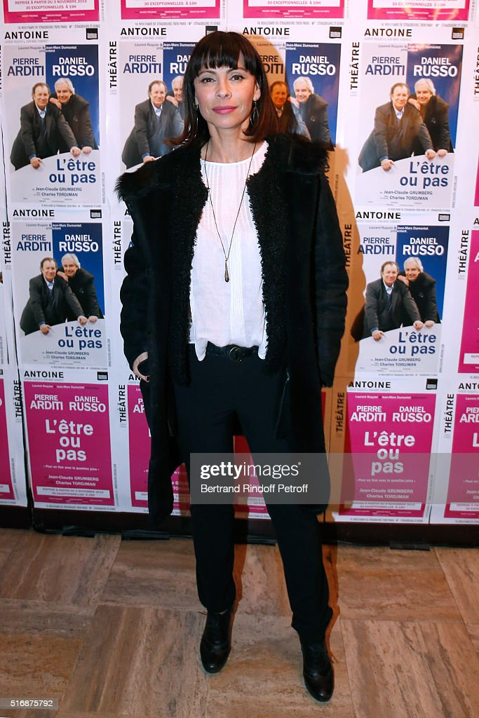 Actress Mathilda May attends the 'L'Etre ou pas' : Theater play at Theatre Antoine on March 21, 2016 in Paris, France.