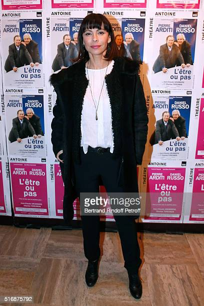 Actress Mathilda May attends the 'L'Etre ou pas' Theater play at Theatre Antoine on March 21 2016 in Paris France