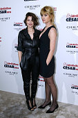 Actress Mathilde Bisson nominated for 'Au plus pres du soleil' and her sponsor Laetitia Casta attend the 'Cesar Revelations 2016' Photocall at...