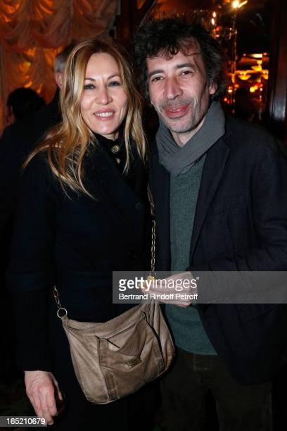 Actress Mathilde Seigner and actor Eric Elmosnino attend 'Des gens qui s'embrassent' premiere after party at Maxim's Restaurant on April 1 2013 in...
