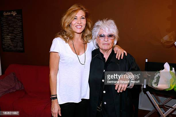 Actress Mathilde Seigner and singer Catherine Lara after 'Nina' Premiere at Theatre Edouard VII on September 16 2013 in Paris France