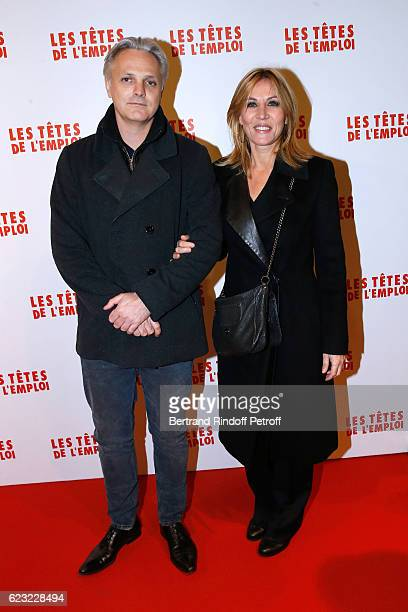 Actress Mathilde Seigner with her companion Mathieu Petit attend 'Les Tetes de l''Emploi' Paris Premiere at Cinema Gaumont Opera Capucines on...