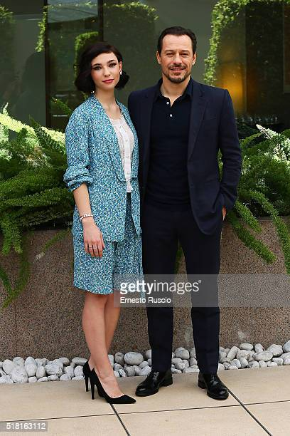Actress Matilda De Angelis and actor Stefano Accorsi attend the 'Veloce Come Il Vento' photocall at Hotel Visconti on March 30 2016 in Rome Italy