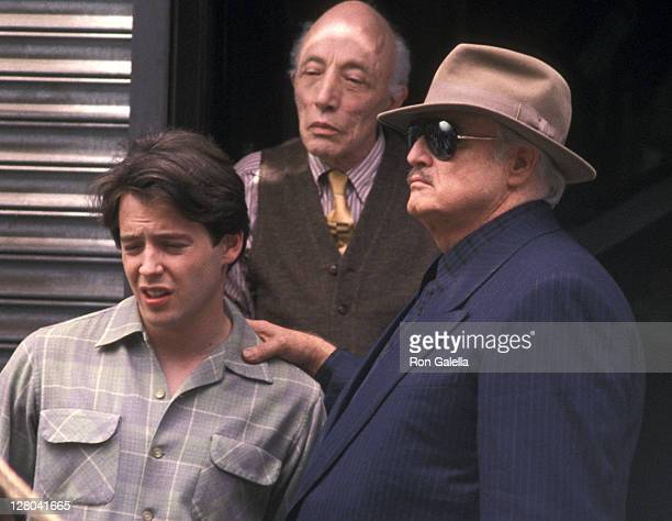 Actress Matthew Broderick and actor Marlon Brando film 'The Freshman' on June 12 1989 in Little Italy New York City