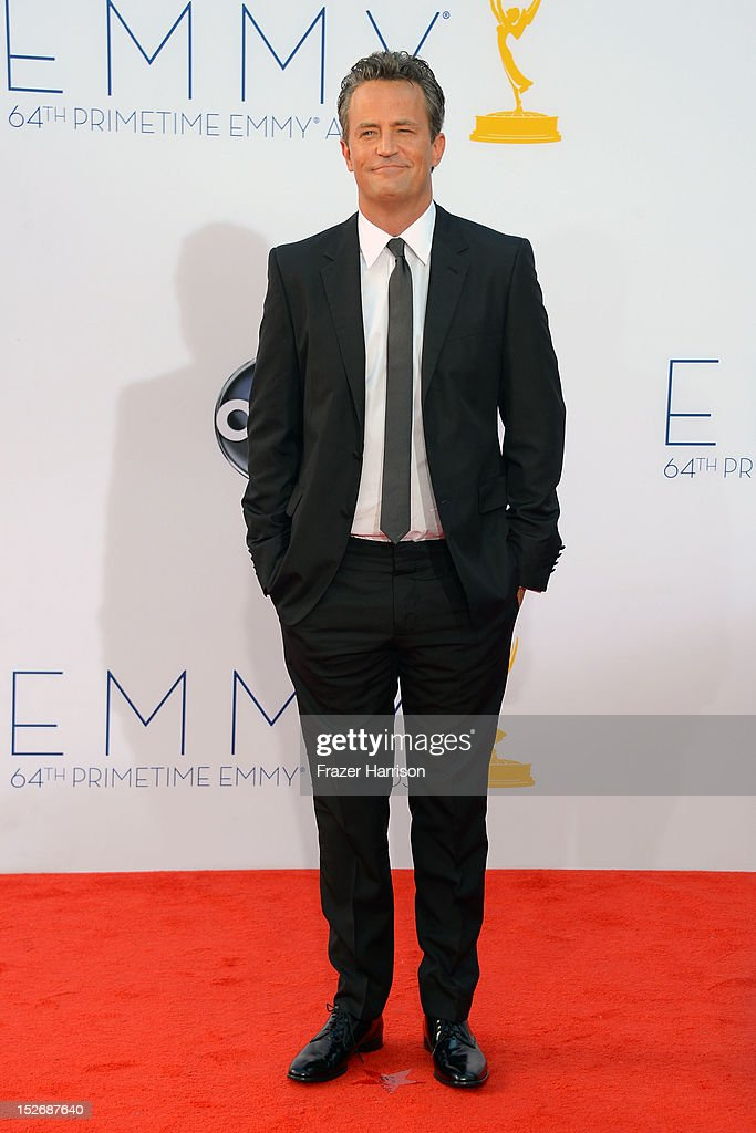 Actress Matthew Perry arrives at the 64th Annual Primetime Emmy Awards at Nokia Theatre LA Live on September 23 2012 in Los Angeles California