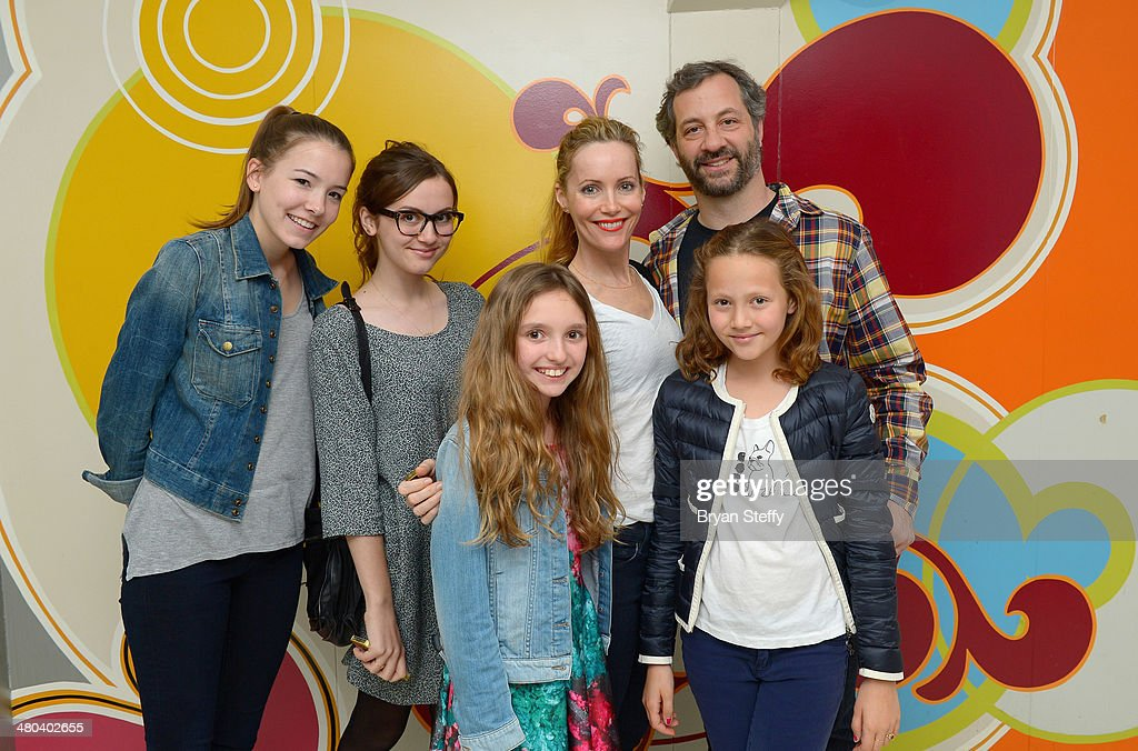 Actress Maude Apatow actress Leslie Mann writer/producer Judd Apatow and actress Iris Apatow attend 'The Beatles LOVE by Cirque du Soleil at The...