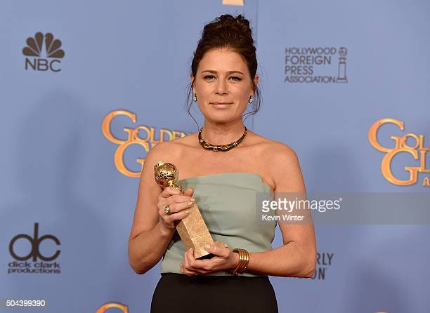 Actress Maura Tierney winner of Best Supporting Performance in a Series Miniseries or Television Film for 'The Affair' poses in the press room during...