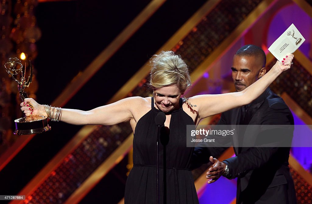 Actress Maura West accepts Outstanding Lead Actress in a Drama Series for 'General Hospital' onstage during The 42nd Annual Daytime Emmy Awards at...
