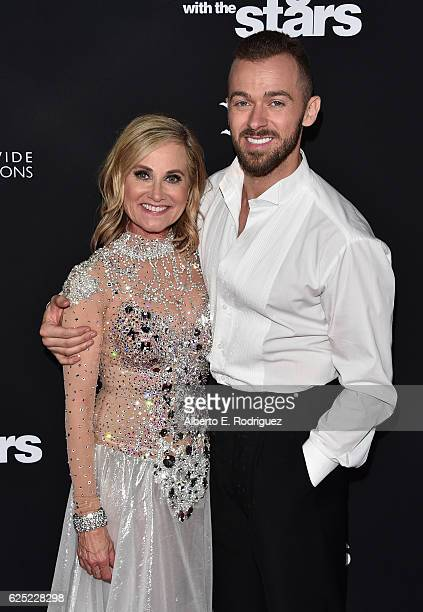Actress Maureen McCormick and professional dancer Artem Chigvintsev attend ABC's 'Dancing With The Stars' Season 23 Finale at The Grove on November...