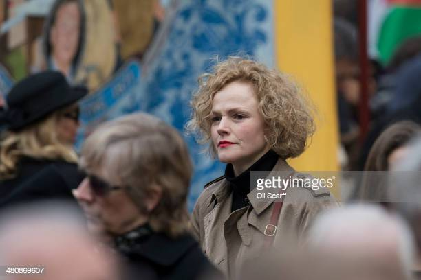 Actress Maxine Peake arrives at St Margaret's Church to attend the funeral of Tony Benn on March 27 in London England Former Labour cabinet minister...