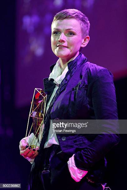 Actress Maxine Peake is seen onstage as she presents the Best International Independent Film Award at The Moet British Independent Film Awards 2015...