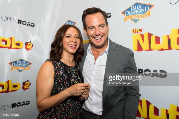 Actress Maya Rudolph and actor Will Arnett attend the premiere of Open Road Films' 'The Nut Job 2 Nutty by Nature' at Regal Cinemas LA Live on August...